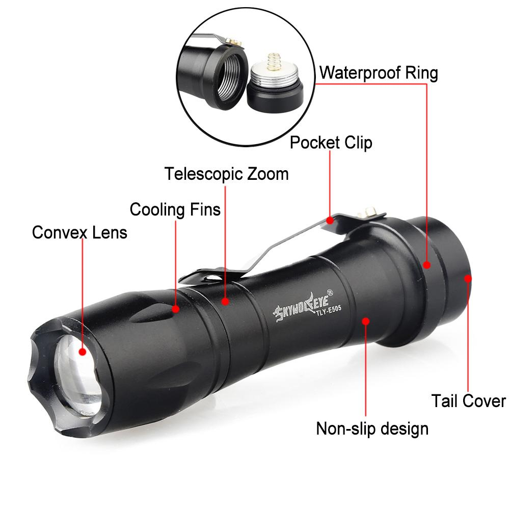 2000LM XPE LED Flashlight 3 Modes 14500 Tactical Torch Focus Small Lamp