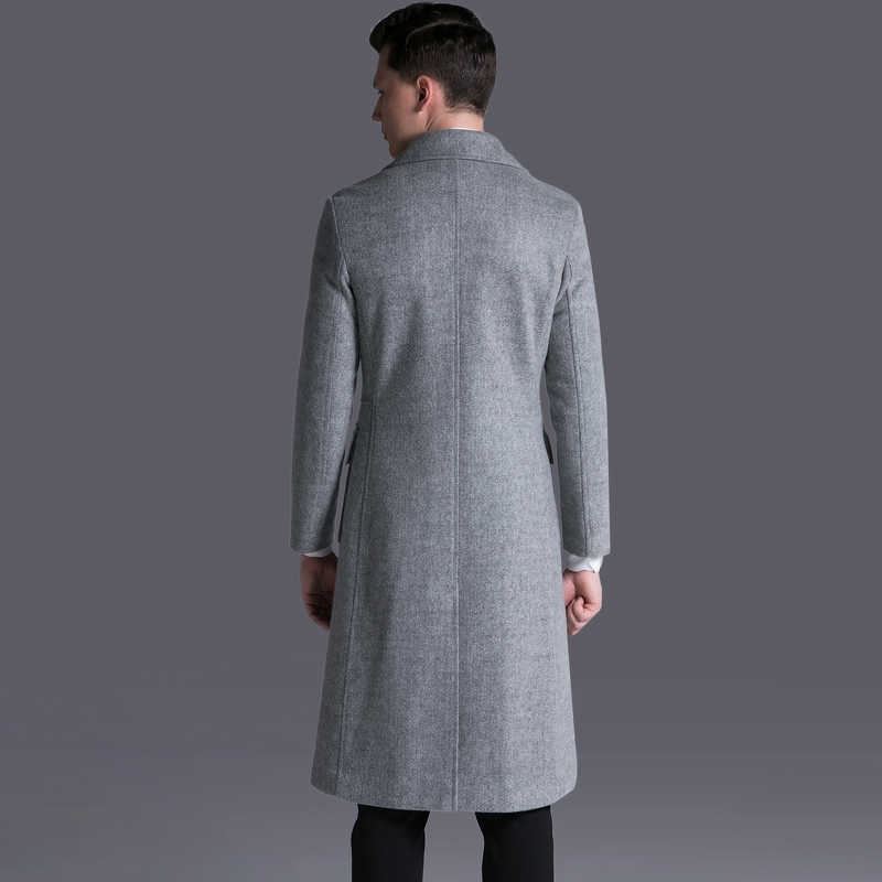 긴 모직 코트 남자 플러스 크기 6xl 겨울 자 켓 남자 양모 코트 남성 코트 회색 남성 의류 abrigo hombre kj253
