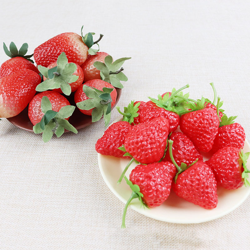 5pc/lot Artificial Fruit Fake Strawberry Plastic Simulation Strawberry Ornament Craft Photography Props Window Decoration