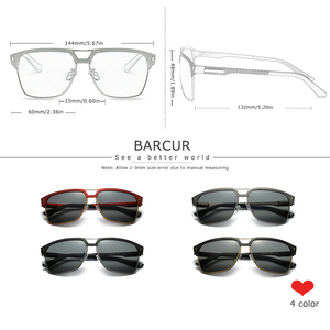 Image 3 - BARCUR Black High Quality Polarized Sunglasses Men Driving Sun Glasses for Man Shades Eyewear With Box