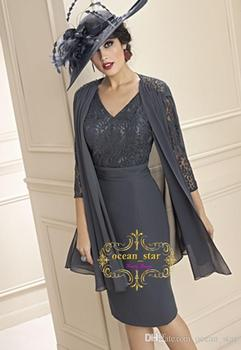New Grey Sheath V-Neck Chiffon with Lace 3/4 Long Sleeves Knee-Length 2018 Women evening Party Gowns Mother of the Bride Dresses grey pom pom design scoop neck 3 4 length sleeves t shirt