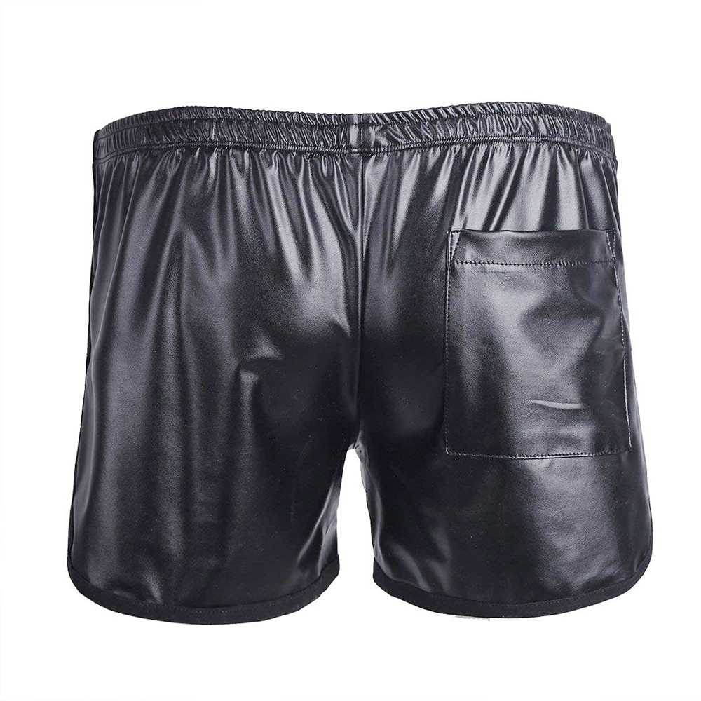 Faux Leather Boxer Trunk WetLook Lounge Sports Short Pants Boxers Short Casual Shorts Men Plus Size