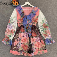 Svoryxiu Fashion Designer Autumn Women Long Sleeve Chiffon Playsuits Ladies V Neck Ruffles Floral Print Vintage Short Rompers