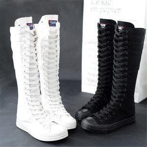 Image 3 - High top long tube womens boots casual canvas side zipper strap sneakers womens shoes winter boots women thigh high boots