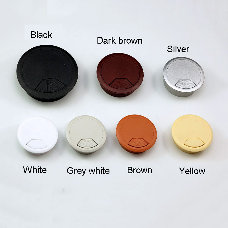 1PCS ABS Wire Hole Covers Grommet Cable Hole Cover Furniture Hardware Plastic Line Holder For Computer Desk Table 50mm