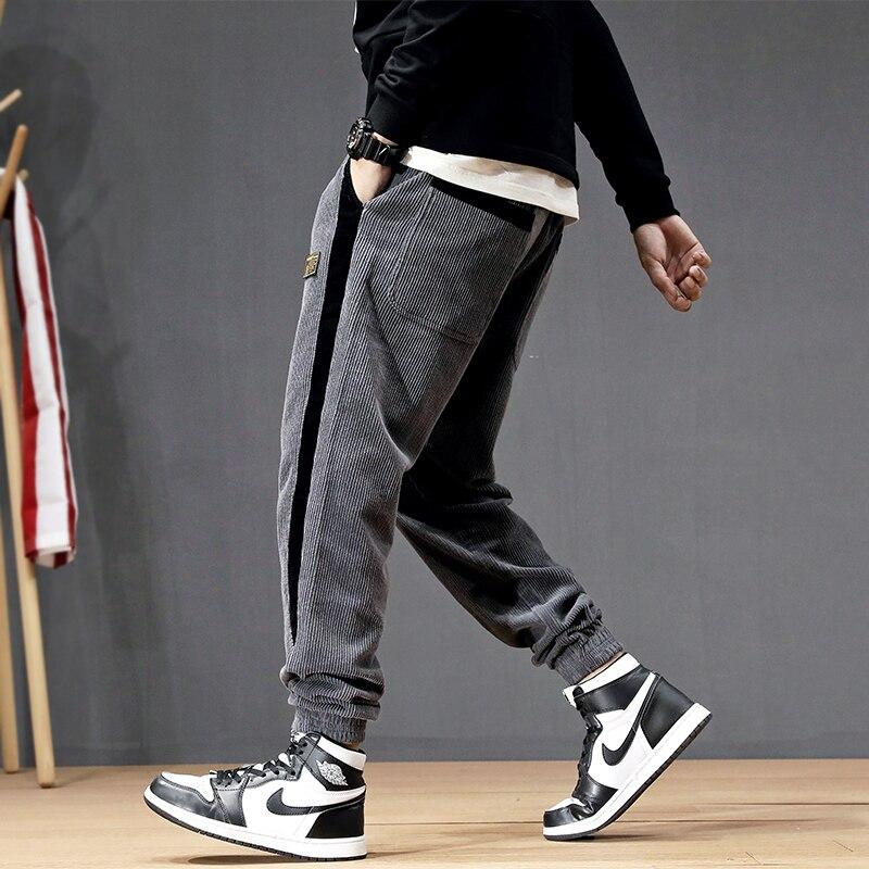 Autumn Winter Fashion Men Jeans Loose Fit Casual Corduroy Harem Pants Spliced Designer Japanese Vintage Hip Hop Jogger Pants Men