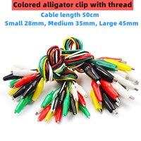 Pinza de cocodrilo de color, cable de alimentación de batería pequeña artesanal, abrazadera eléctrica de doble cabeza, clamp.28mm35 mm 45mm 50cm, 10 Uds.