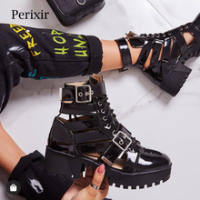 Luxury Brand Designer Black Buckle Strap Women Boots Double
