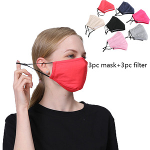 3set Good Cotton Women Face Mask Cover Respirator Reusable Washable Dust Fog Pollution PM2.5 Men Mouth Mask With Filter Pad