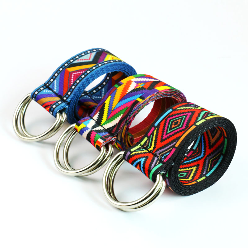 HUOBAO Fashion Rainbow Waist Belts D Ring Casual Boho Geometric Aztec Printed Jeans Canvas Belt For Women Mens