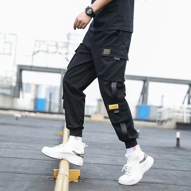 Мужские шаровары с боковыми карманами, повседневные черные брюки-карго в стиле хип-хоп с лентами, 2020