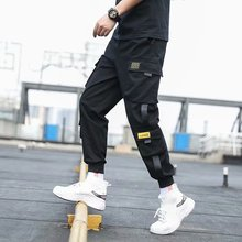 Men #8217 s Side Pockets Cargo Harem Pants 2020 Ribbons Black Hip Hop Casual Male Joggers Trousers Fashion Casual Streetwear Pants cheap VOLGINS Pencil Pants CN(Origin) Flat Polyester Regular Full Length Lightweight Broadcloth Ankle-Length Pants Elastic Waist