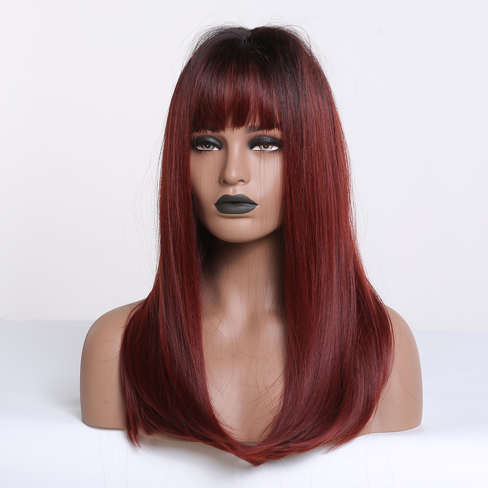 Image 2 - ALAN EATON Long Ombre Black Wine Red Straight Synthetic Wigs with Bangs Heat Resistant Hair for Black Women Cosplay Party WigsSynthetic None-Lace  Wigs   -