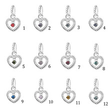 2020 Valentine's Day 100% 925 Silver Beads Crystals Birthstone Heart Charms fit Original Pandora Bracelets DIY Jewelry For Women