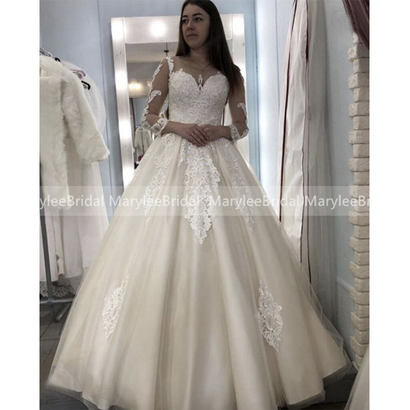 Vintage Lace Ball Gown Sheer Scoop Neck Wedding Dresses 3/4 Length Sleeves Princess Wedding Gown Plus Size Vestido De Casamento