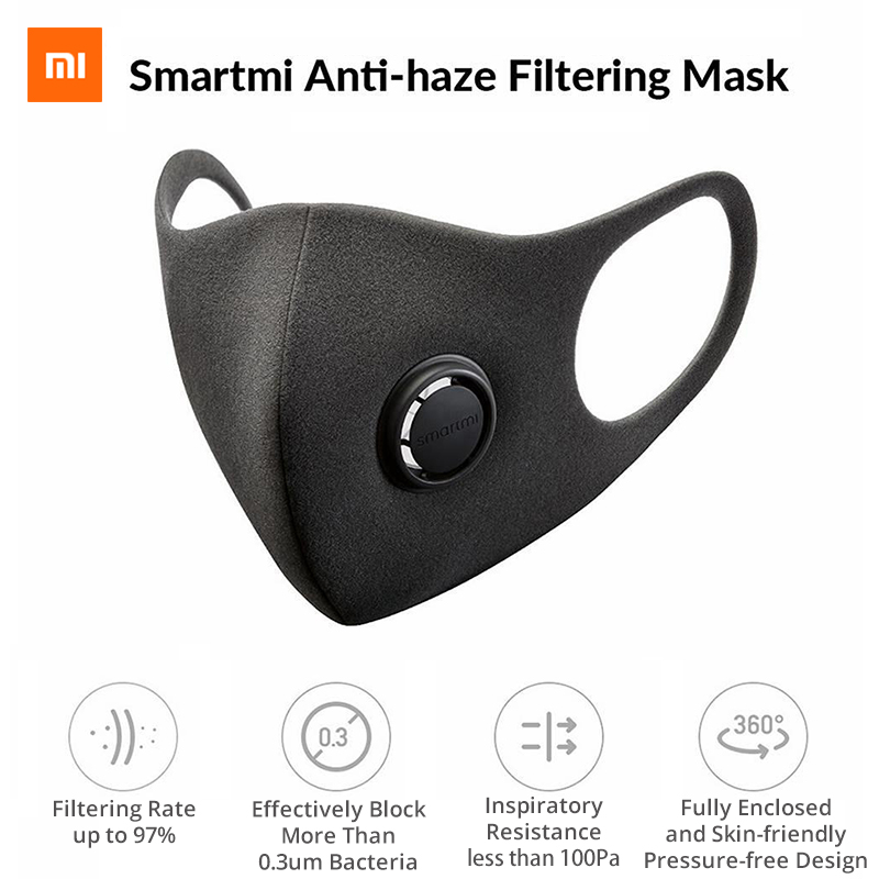 Xiaomi Reusable Sponge Mask With Breathing Valve For PM2.5 Anti-Pollution Allergy Haze Dust Filtration Efficiency 97%