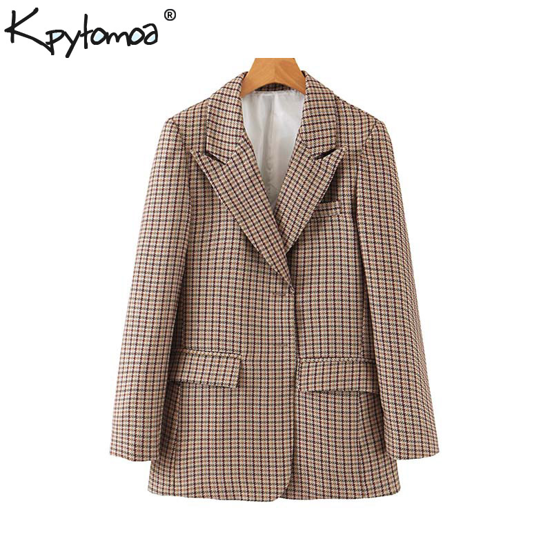 Vintage Stylish Office Lady Houndstooth Blazer Coat Women 2019 Fashion Notched Collar Long Sleeve Plaid Outerwear Chaqueta Mujer