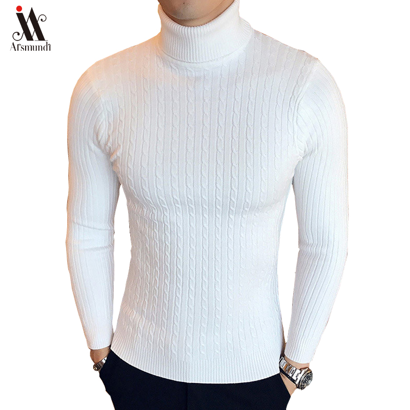 2019 New Winter High Neck Thick Warm Sweater Men Turtleneck Brand Mens Sweater Slim Fit Pullover Men Knitwear Male Double Collar