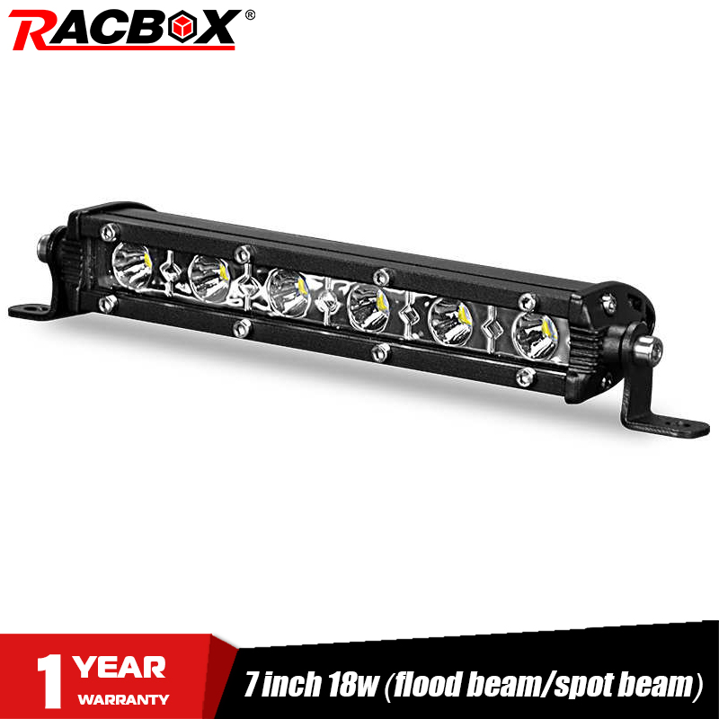 18w 7inch LED Light Bar Work Slim Single Row Spot Flood Beam Mini For ATV UAZ 4WD Niva 4x4 Automobile Headlights Car Fog Light