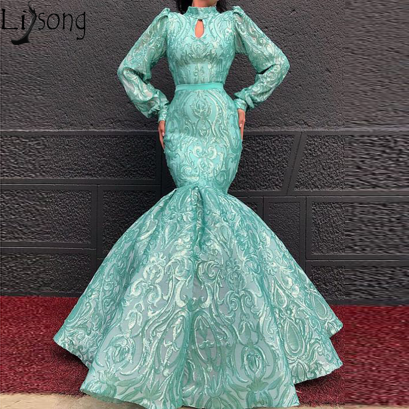 Elegant High Neck Long Sleeve Evening Dress Mermaid Full Lace Chic Prom Dresses Pageant Formal Gown Robe De Soiree Abendkleider