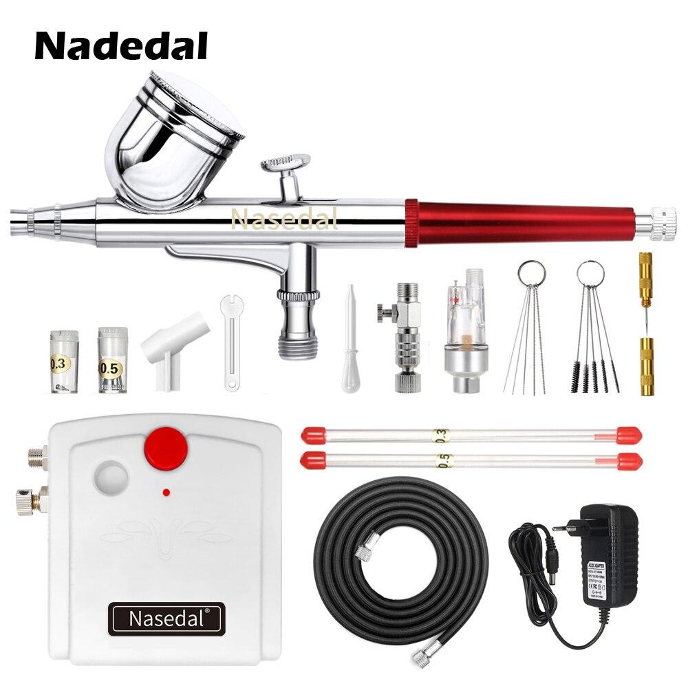 Nasedal NT-29 Airbrush Compressor 0.3mm Dual-Action Spray Gun Air Brush Kit For Nail Airbrush For Model Cake Car Painting Makeup