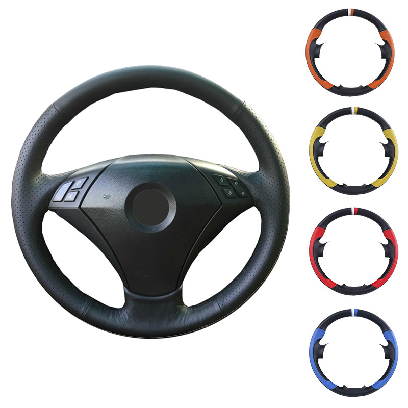 Black Artificial Leather Car Steering Wheel Cover Hand-stitched DIY for <font><b>BMW</b></font> 530 523 523li 525 520li 535 <font><b>545i</b></font> <font><b>E60</b></font> image