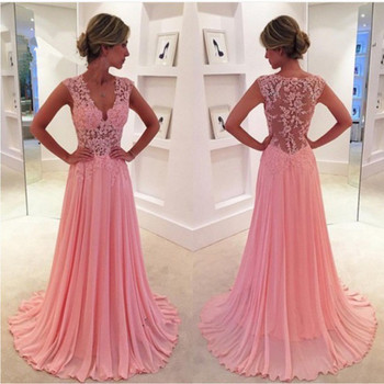 Lace Prom gown 2018 Long Formal Evening Gown Chiffon Graduation Vestido de Baile de Formatura mother of the bride dresses short prom gown 2018 custom sexy women a line v neck beaded lace long sleeve vestidos de formatura mother of the bride dresses