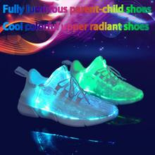 LED Light Up Couple Shoes Summer Fiber Optic Shoes Boys Girls Women Men USB Recharge Bright Sneakers(China)