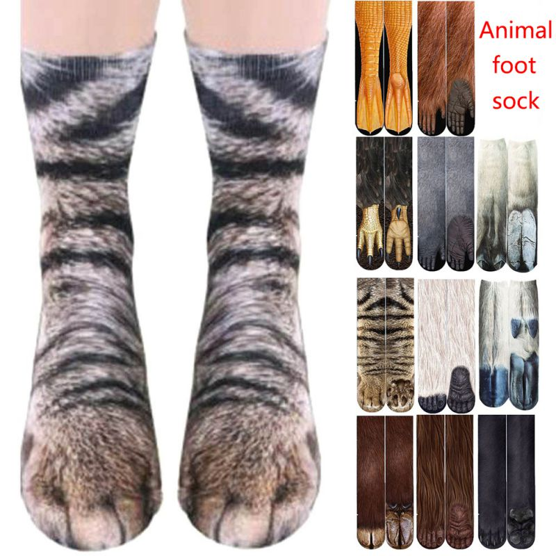 Adult Children 3D Print Animal Paw Socks Unisex Crew Cat Long Stocks Elastic Breathable Sport Sock Duck Horse Cat Paw Cow Hoof