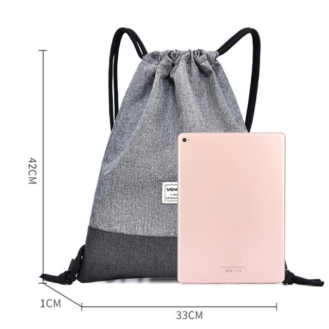 Women Men Drawstring Bags Women Canvas Backpack Beach Bag Outdoor Fitness Sport Bag Bundle Pocket Travel Softback Women Mochila 3