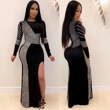 African-Dresses Long-Sleeves Women for Sequins Round-Neck