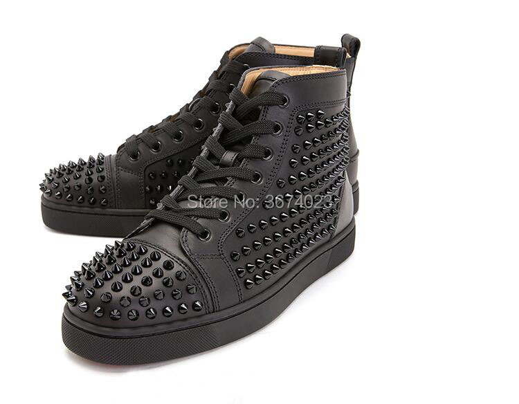 Qianruiti High-Top Sneakers Flats Spiked-Shoes Rivet Runway Men Rubber Sole Casual Studs title=