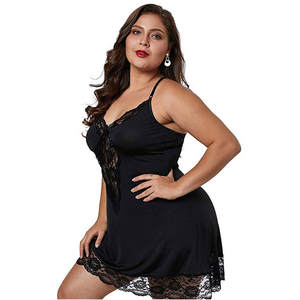 Women's Sexy V Neck Lace Underwear Lingerie Nightgown Sleepwears Babydoll Dress Babydolls Plus Size robe de nuit satin  J20