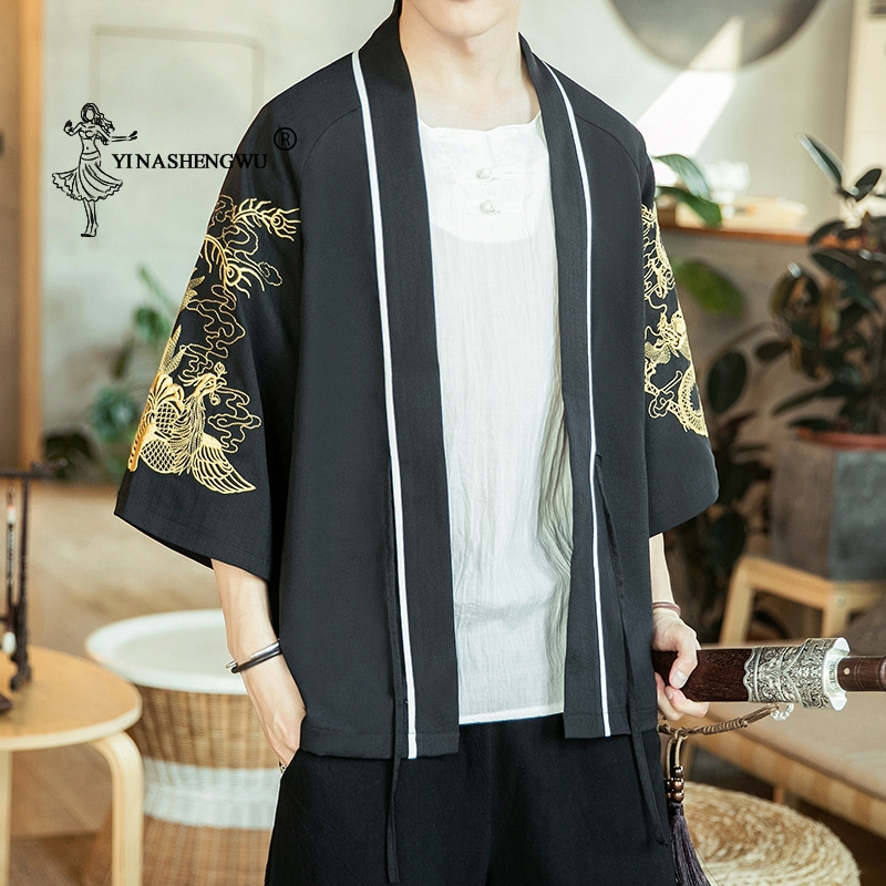 Japanese Kimono Traditional Yukata Kimono Cardigan Men Beach Thin Asian Clothes Japan Kimonos Male Fashion Casual Cardigan Shirt