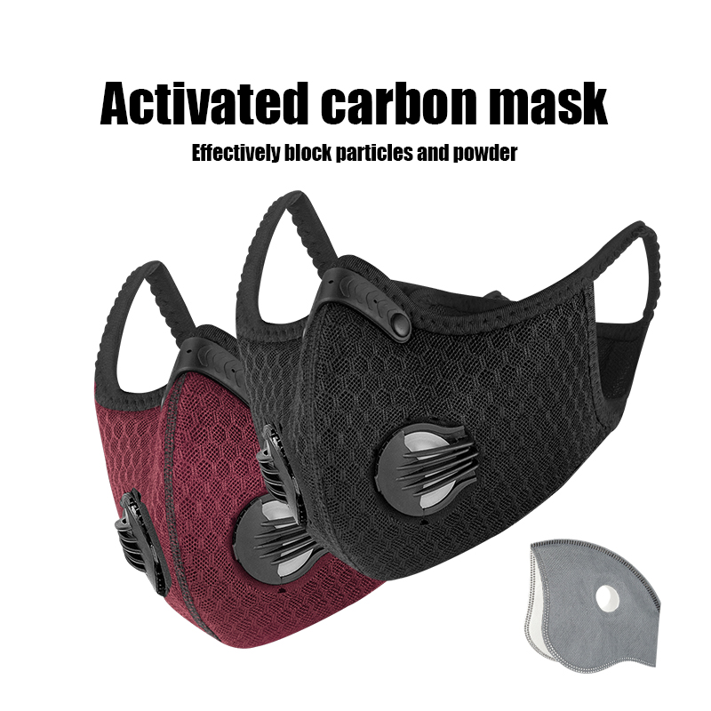 PCycling Sport Face Mask Activated Carbon Filter Dust Mask PM 2.5 Anti-Pollution Running Training MTB Road Bike Cycling Mask