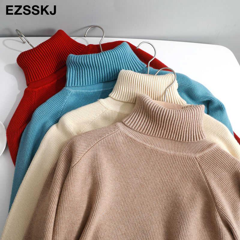 Nowy dorywczo gruby jesienno-zimowy sweter z golfem szeroki sweter damski ciepły elegancki damski luźny, dzianinowy swetry basic pull