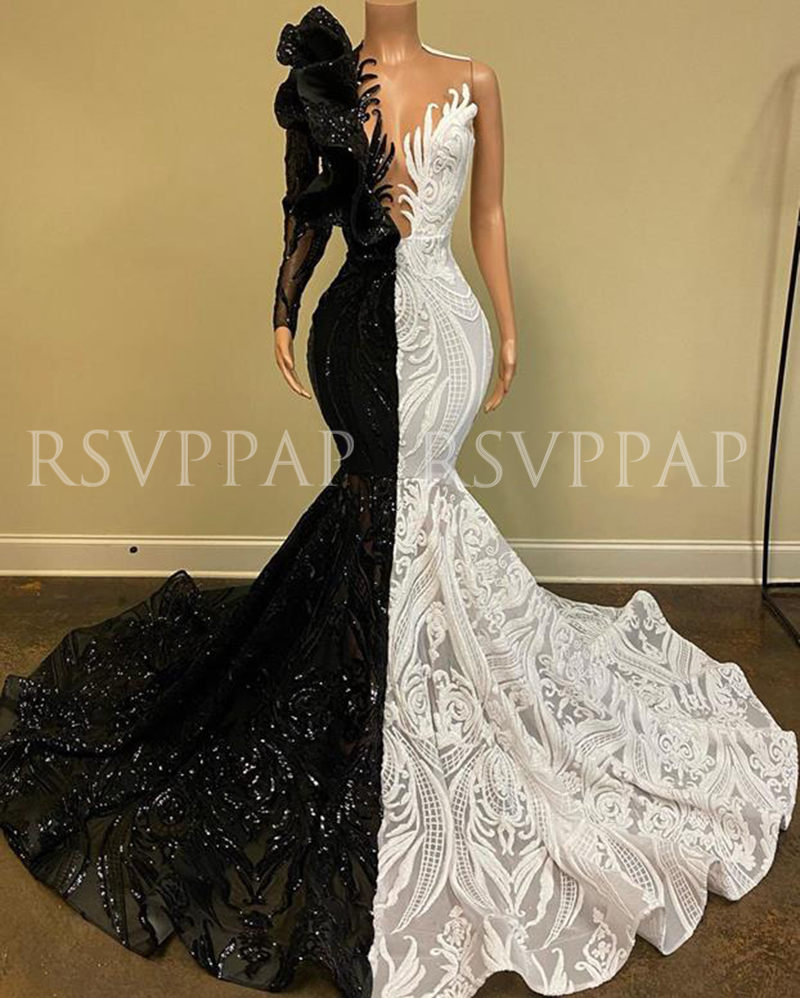 Black/White Mermaid Long Prom Dress 2020 New Arrival Sparkly Sequin One Long Sleeve African Girl Prom Dresses