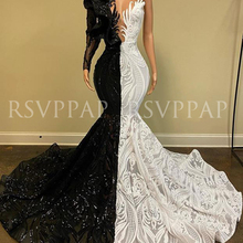 Black/White Mermaid Long Prom Dress 2020 New Arrival Sparkly