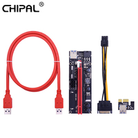 CHIPAL VER009S PCI-E Riser Card 009S PCI Express PCIE 1X to 16X Extender 1M 0.6M USB 3.0 Cable SATA to 6Pin Power for Video Card 1