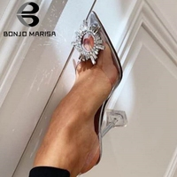 BONJOMARISA Brand Transparent Sandals Sexy Pointed Toe Rhinestone Sandals Women High Heels Wedding Clear Heeled Shoes Woman