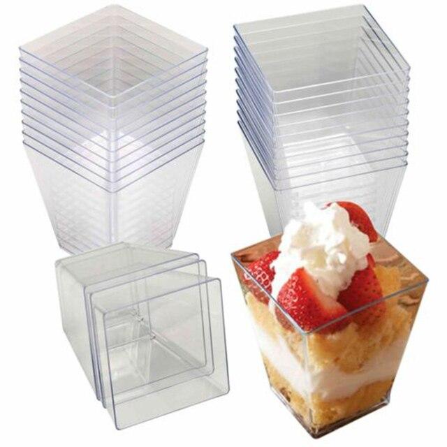 100 יח\סט אלגנטי כיכר מיני קינוח כוסות מיני קוביית 2oz ברור טעימות מדגם Shot משקפיים חד פעמי פלסטיק קינוח כוסות