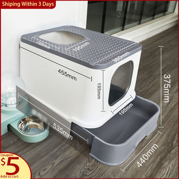 Cat Litter Box Fully Enclosed Drawer Top Entry Type Splash-proof Deodorant Oversized Cat Supplies Cat Toilet Cats ' Litter Box
