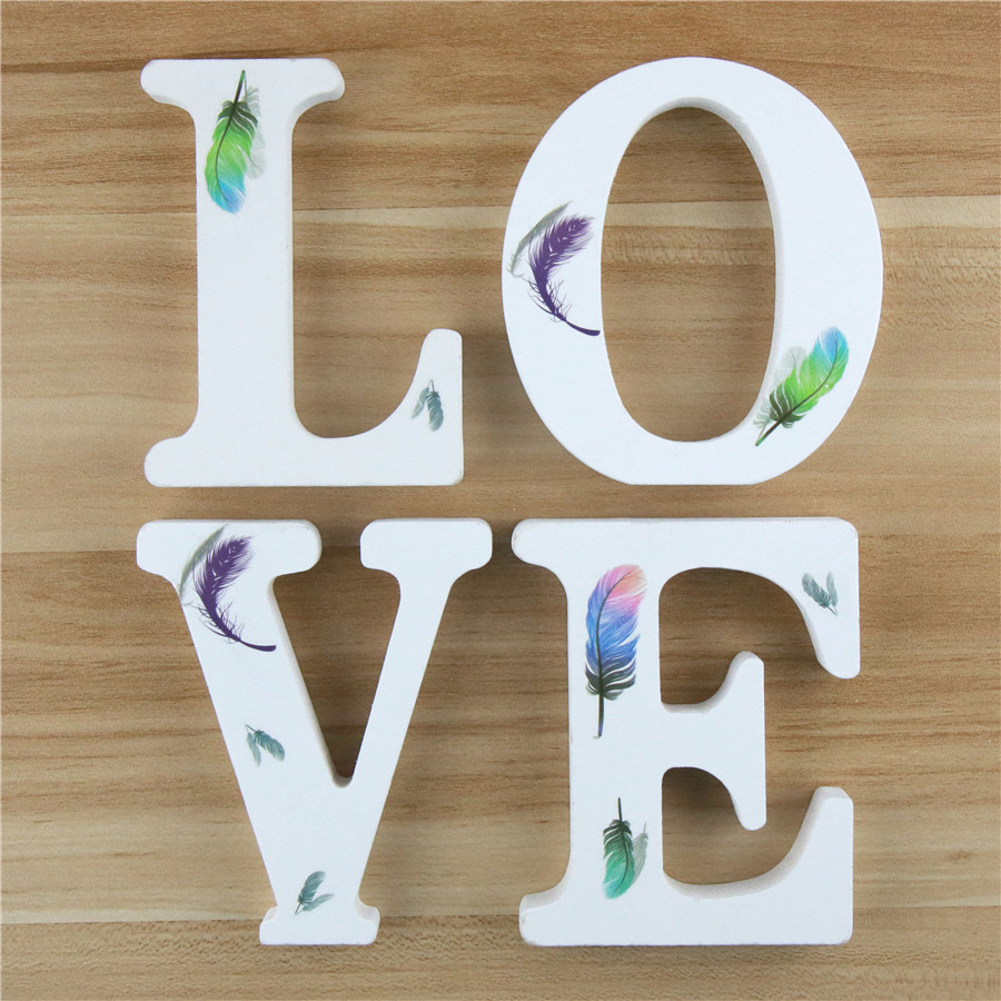 1pc 10cm Wooden Letters Alphabet Name Letter Standing Feather DIY Handmade Design Height Art Crafts Home Decor 3.94 Inches