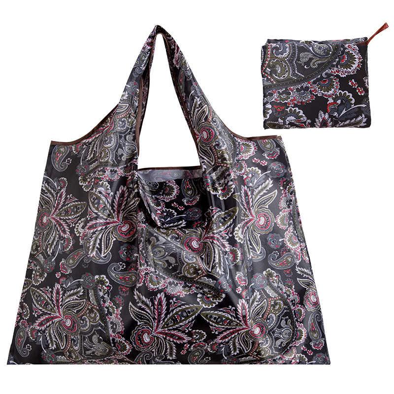 큰 크기 두꺼운 매직 스타일 나일론 대형 토트 에코 재사용 가능한 폴리 에스터 휴대용 어깨 핸드백 접는 주머니 쇼핑 가방 Foldable