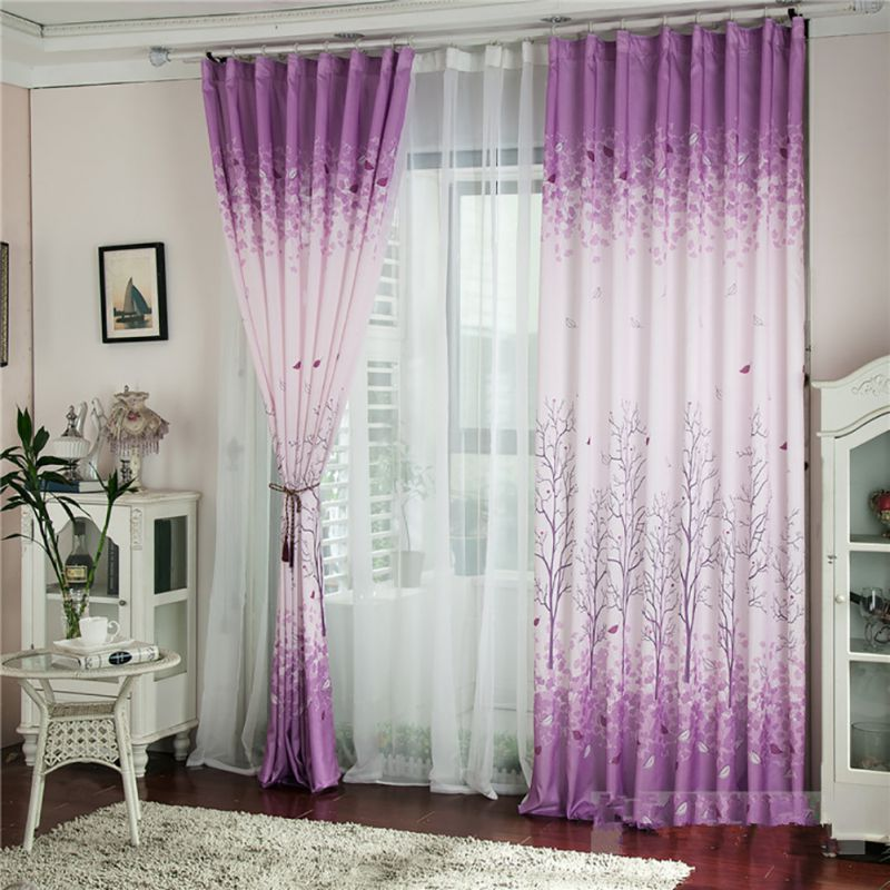 Modern Bedroom Curtain Window Shade Printed Tree Pattern Blackout Curtain Sheer Curtain Living Room Voile Tulle