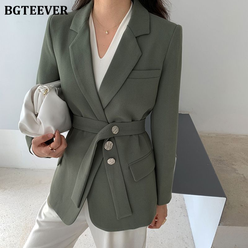 BGTEEVER Elegant Slim Waist Women Blazer Casual Notched Collar Long Sleeve Belted Female Suit Jacket 2020 Office Ladies Outwear