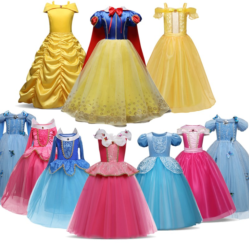 Princess Cosplay Costume Dresses For Girls Party Clothing Kids Children Dress Up 1