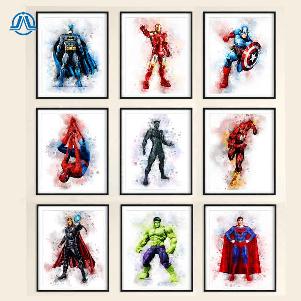 Superheroes Watercolor Art Print Avengers Marvel Hulk Batman Superman Captain America Birthday Gifts Wall Pictures For Boys Room