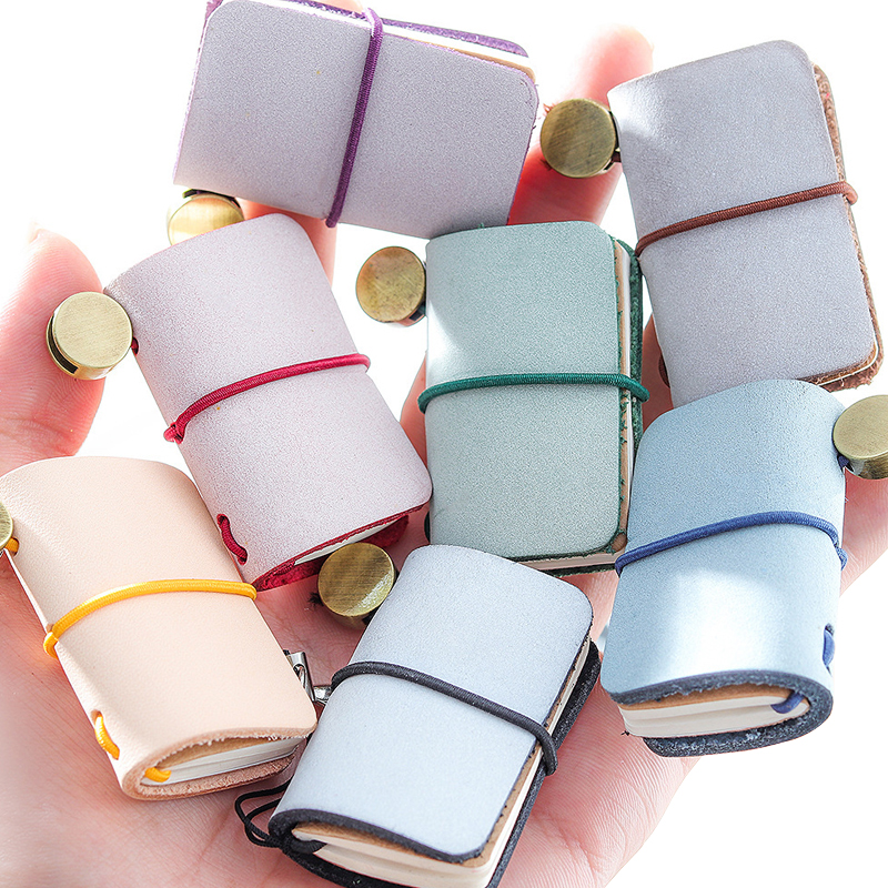 Mini Portable Leather Memo Pad Handmade Leather Cover Memo Pad With Hang Buckle Journal Booklet Gift Stationery Office School