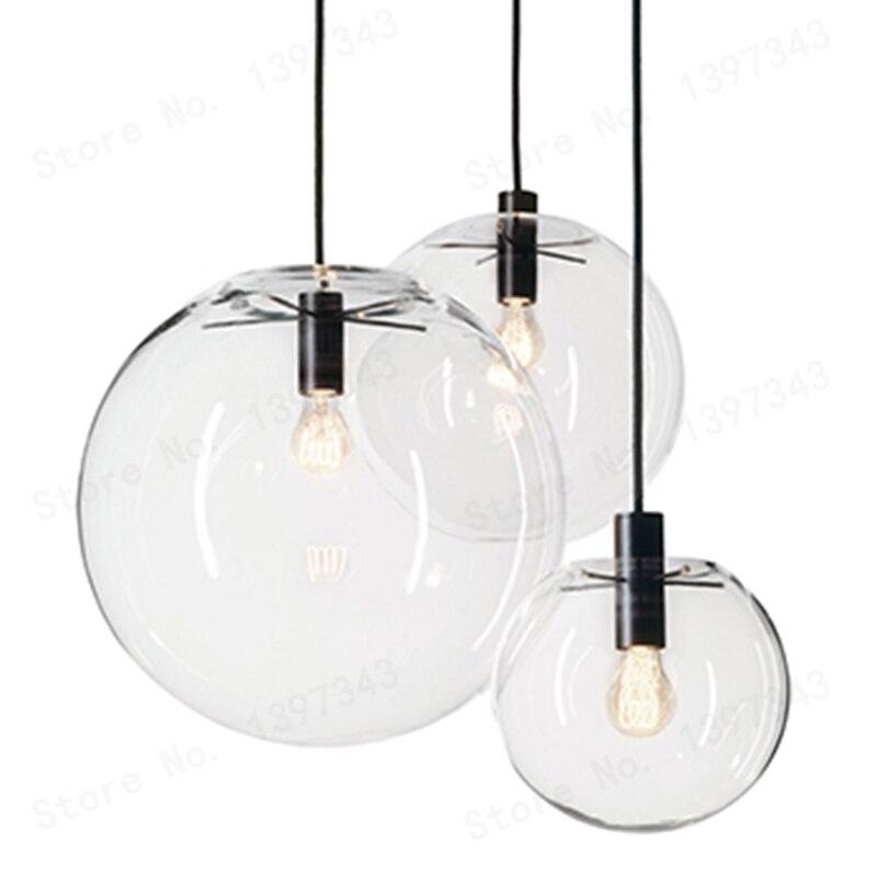 GZMJ Wonderland moderne 1 Set 3 balle noir clair verre boule pendentif lampe de manutention lumière lustre LED verre boule Bar cuisine